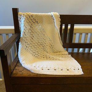 🖤2for$30 vintage crochet baby pet blanket, white